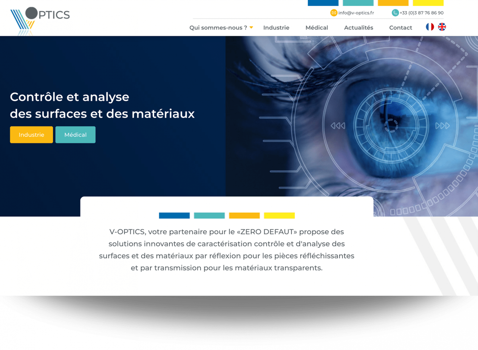 maquette site internet V-Optics