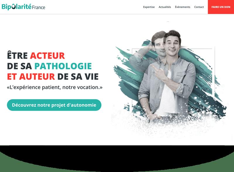 Homepage site web association de santé